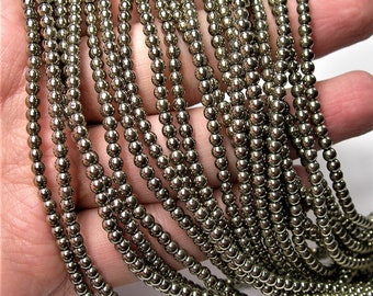 Gold Hematite - 3 mm round beads - full strand - 133 beads - AA quality - Light gold Hematite - WHOLESALE DEAL - RFG1596