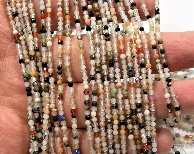 Gemstone mix - 2mm micro faceted round beads - 176 beads - Full strand  - A Quality - PG226