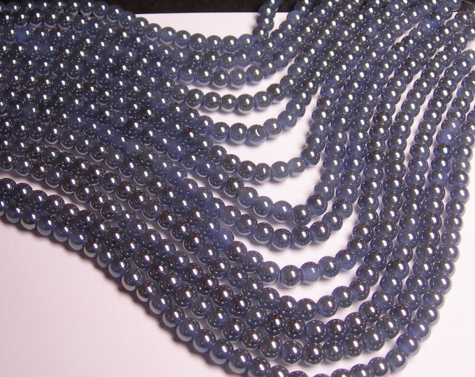 Crystal - round - 6mm - blue - full strand - 53 beads - pearlized - N4A