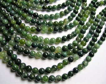 Moss agate - 8 mm round beads -  full strand - 48 beads - dark moss agate - RFG1248