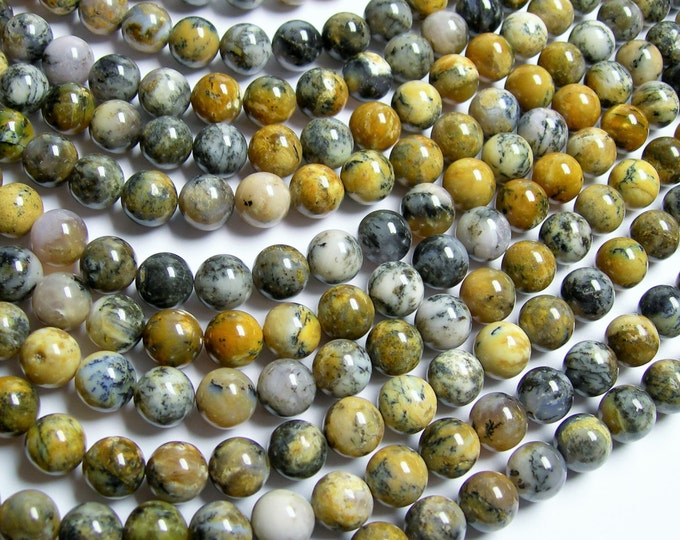 Dendritic moss Opal - 10 mm round beads - full strand - 40 beads - RFG863
