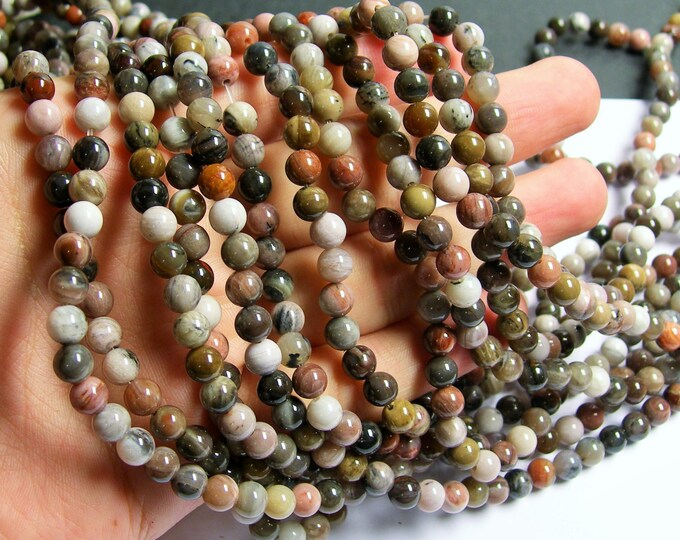 Petrified wood - 6mm round beads -1 full strand - 64 beads - AA quality - WHOLESALE DEAL - RFG569