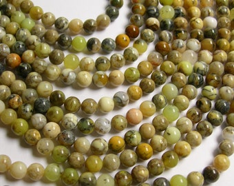 Dendritic Opal - 6mm round beads - full strand -65 beads - RFG319
