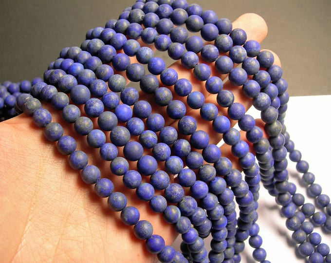Lapis Lazuli Matte 8mm -  round - 1 full strand  - 49 beads - A quality -natural - Matte-  RFG1083