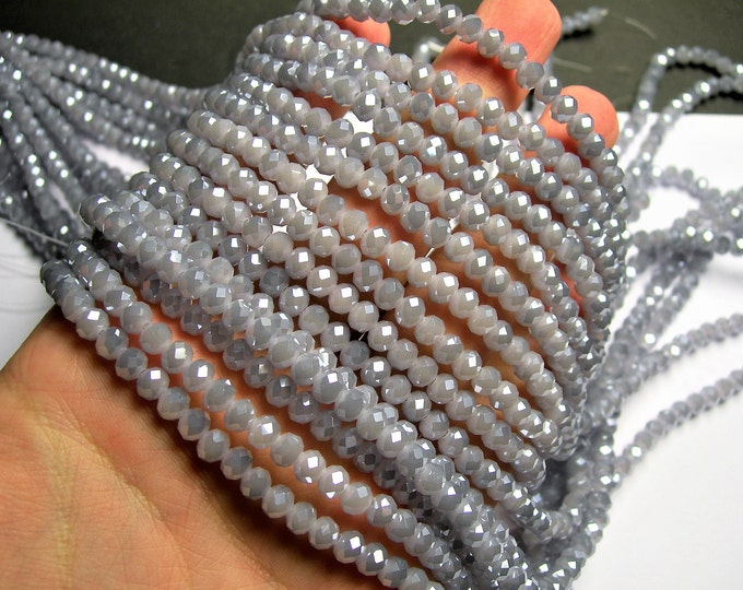 Crystal faceted rondelle - 98 pcs - 6 mm - AA quality - full strand - Lavender grey  - GSH70