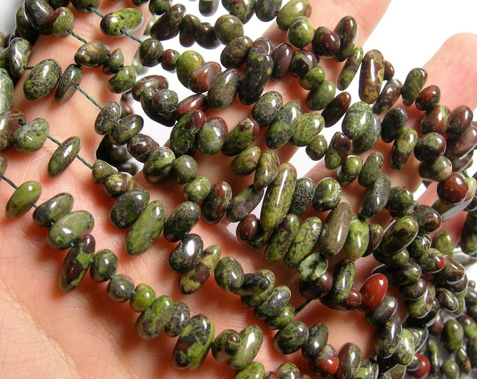 Dragons blood jasper - Rounded pebble stick beads - full strand -  90 beads - A quality - PSC295
