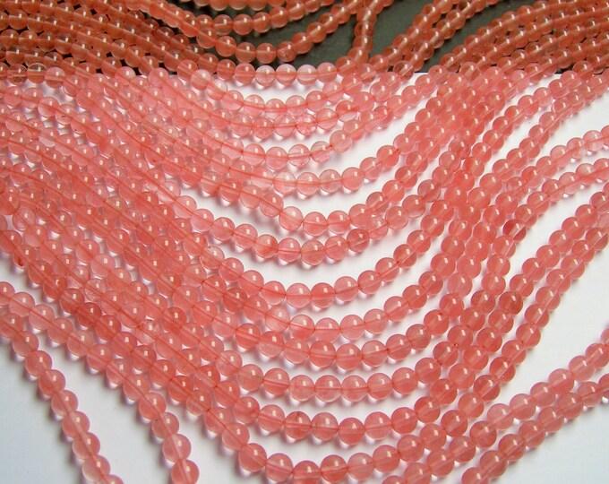 Cherry quartz - 6 mm round bead - full strand - 64 bead - RFG268