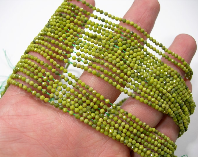 Yellow Green turquoise - 2mm( 2.1mm) micro faceted round beads -  full strand - 180 beads  - A Quality - PG255