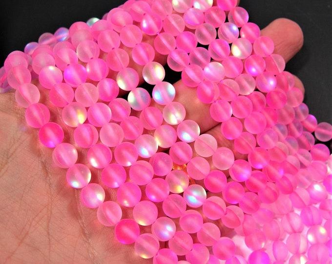 Pink Mystic aura quartz Matte - 8mm round - Holographic quartz - 49 Beads - full strand - RFG1813