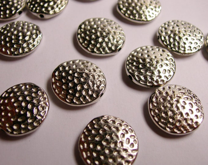 12 silver  beads - hypoallergenic - textured silver disc beads - 16mm -  ASA14