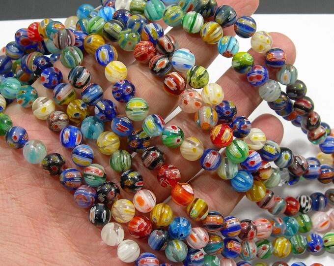 Millefiori - 8 mm round beads - full strand - 49 beads - RFG2009