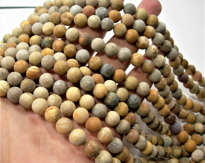 Bamboo Leaf agate matte - 8mm(8.6mm) round beads -  full strand - 46 beads  - RFG1648