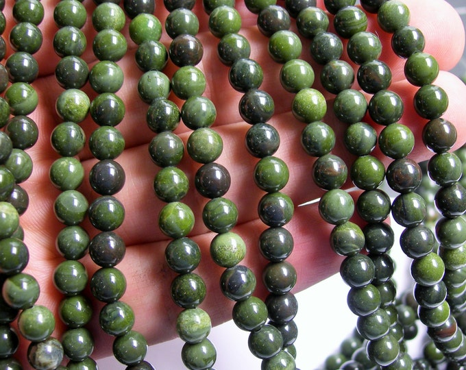 African Green jasper - 6 mm round beads - full strand - 65 beads - A Quality - RFG426