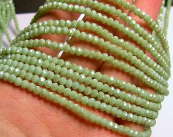 Crystal faceted rondelle - 145 pcs - 18 inch strand - 4 mm - green - CRV82