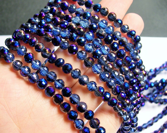 Crystal - round faceted 6mm beads - 100 beads - 26 inch strand - dark mystic blue ab - AA quality - CRV54