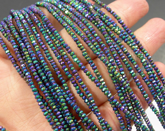 Crystal - rondelle faceted 2.5mm x 1.6mm beads - 194 beads - AA quality - metallic purple aqua - CAA2G213