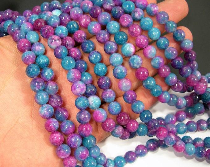 Malaysia Jade - 8 mm round beads - full strand - 47 beads - Dual tone Ruby dark aqua Jade - RFG2039