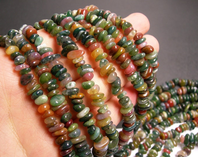 Indian agate - bead - Pebble chip stone  - A quality - 115 beads per strand - PSC53
