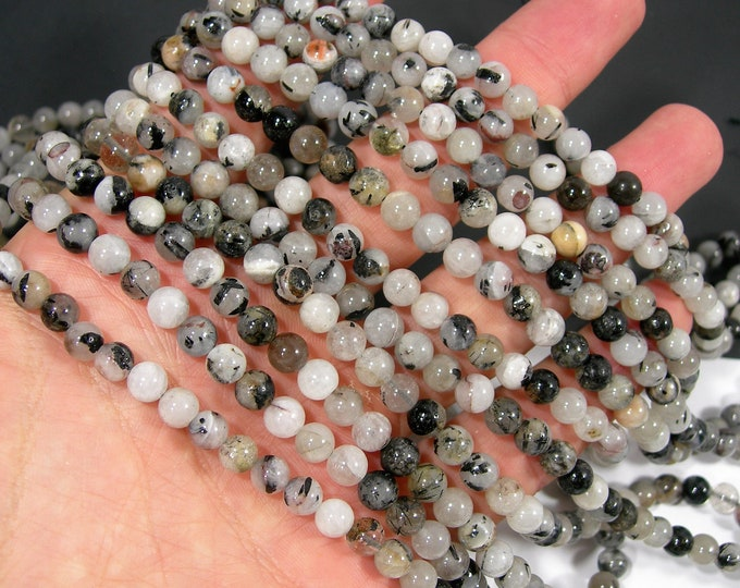 Tourmalinated quartz - 6mm(5.9mm) round beads - full strand - 67 beads - RFG2090