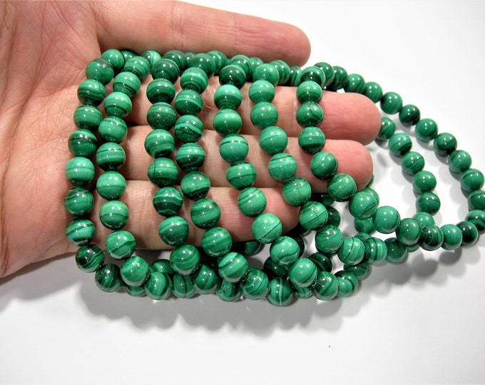 Malachite - 8mm round beads - 24 beads - 1 set - AA quality - MINED Malachite - HSG126
