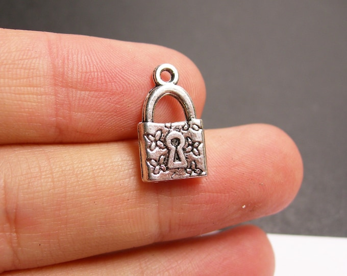 24 Lock silver tone charm - 24 pcs - 2 sided lock  -  ASA174