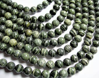 Green Zebra jasper - 10mm(9.8mm) round -  full strand - 41 beads -  A quality - RFG1309