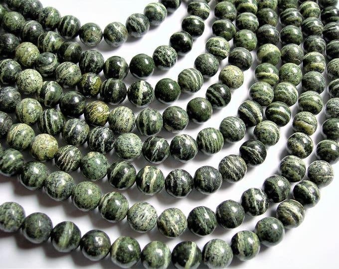 Green Zebra jasper - 10mm(9.8mm) round -  full strand - 41 beads -  A quality - RFG1309