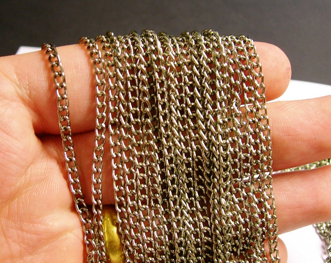 Steel color chain - lead free nickel free won't tarnish .1 meter-3.3 feet made from aluminum-CA37