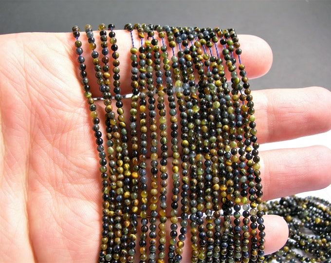 Tiger eyes - 2mm(2.2mm) round -179 beads - part blue tiger eyes - full strand - PG46