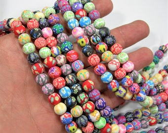 Mixed Polymer Clay  - 8mm  round beads - full strand - 46 beads - RFG2065