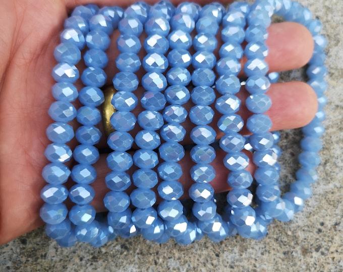 Crystal elastic - 29 beads - 8 mm - 1 set - blue - HSC14