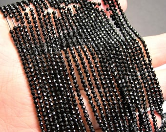 Black Spinel - 2mm faceted round beads - full strand - 188 beads - AA Quality - PG69