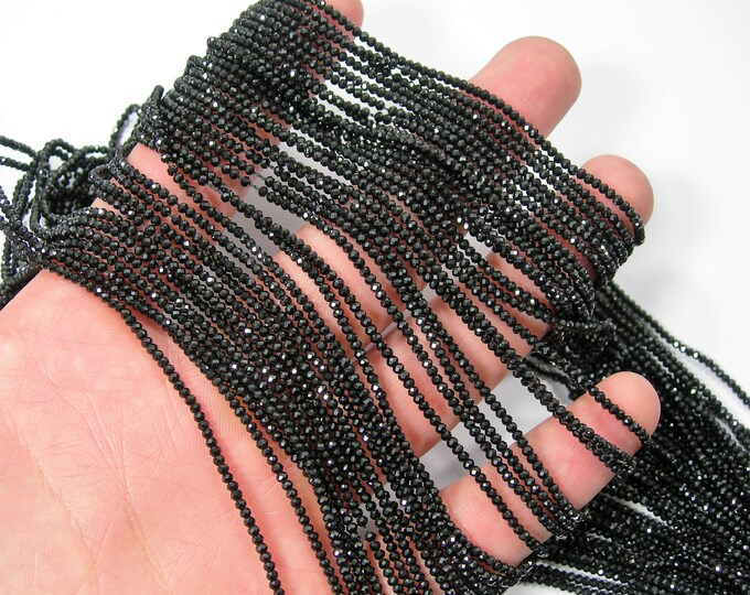 Black Spinel - 2mmx1.5mm faceted rondelle beads -  full strand - 250 beads - AA Quality - RFG2092