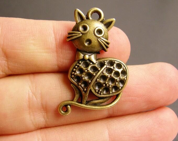 Cat charms - 6 pcs - antique bronze brass cat charms -  BAZ60