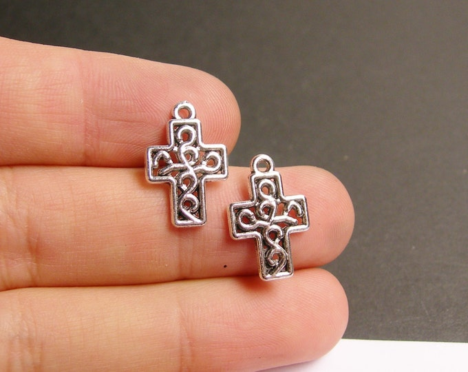 24 cross - antique silver tone celtic cross charms  - 24 pcs -  ASA109