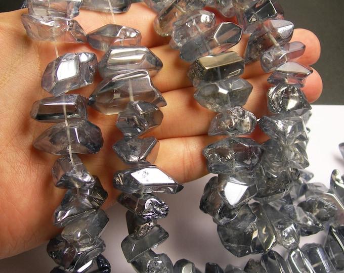 Quartz mystic glacier grey crystal points chunk -  middle drilled - Full strand - 40 pcs - WQA7