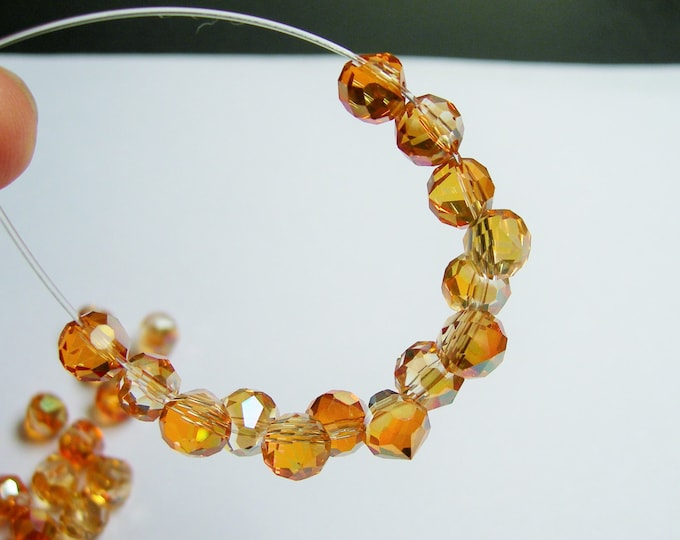 24pcs Faceted crystal onion briolette beads - 8mm - top sideways drill - tangerine ab - BCO8