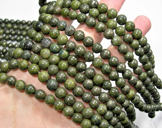 Epidote - 8mm round beads - full strand - 49 beads - RFG1895