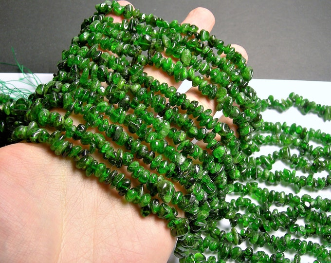 Chrome Diopside gemstone - 8mm chip stone  - 16 inch strand - Green Diopside - PSC398