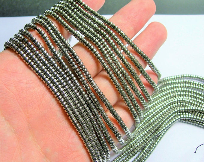 Hematite silver - 3mm heishi - full strand - 215 beads - AA quality - 3mmx2mm - PHG231
