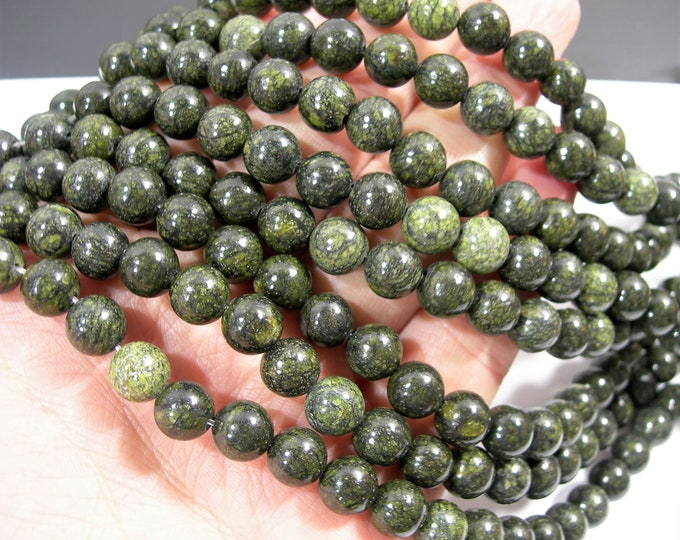Russian Serpentine - 8mm (8.4mm) round beads - full strand - 46 beads - WHOLESALE DEAL - RFG1769