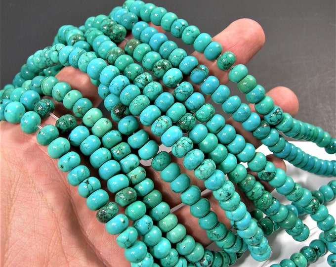 Howlite turquoise - 8mmx5mm Rondelle beads -  full strand - 72 pcs - A quality - RFG1747
