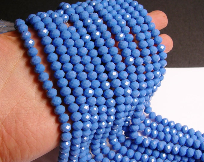 Crystal faceted rondelle - 70 pcs - 8 mm - A quality - full strand - matte - blue - GSH32