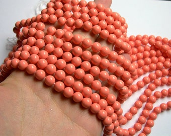 Pearl  - 8 mm round - salmon pink  - 1 full strand - 48 beads - SPT6 - Shell pearl