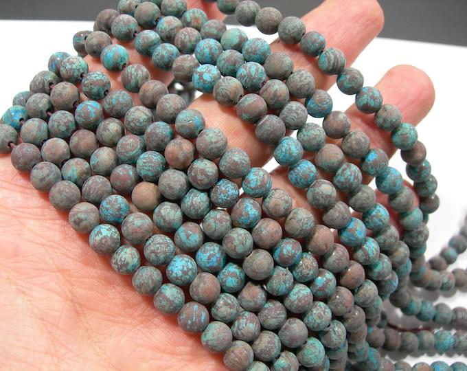 Blue Calsilica Matte  6mm - 58 beads per strand - full strand - turquoise snowflake obsidian - RFG2214