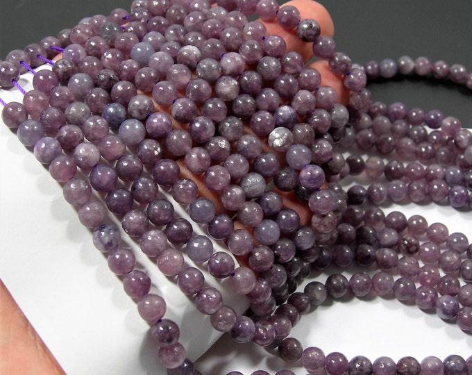Lepidolite - 6mm(6.5mm) round beads - full strand - 61 beads per strand - RFG2177