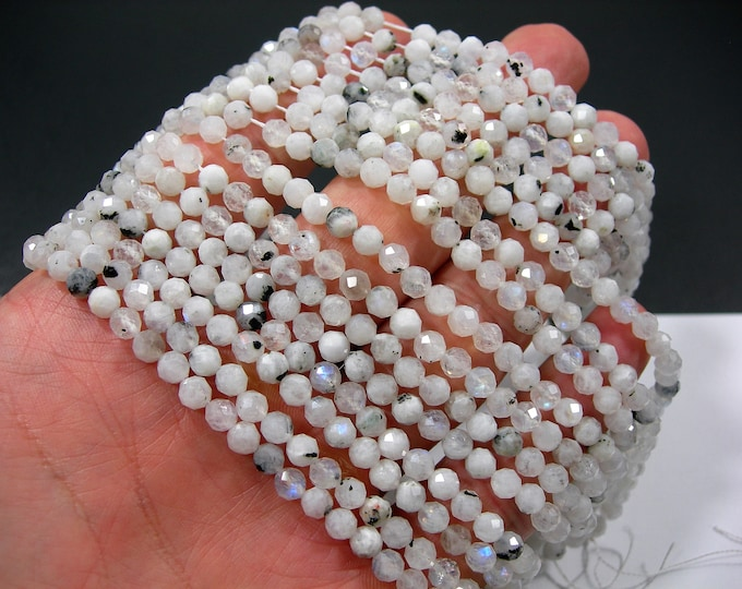 Moonstone - 5mm (4.7mm) micro faceted round beads - 83 beads - Full strand - Moonstone black rutile - PG353