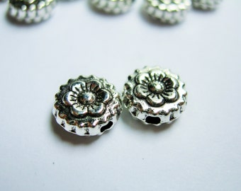 50 pcs silver tone beads - engraved flower bud -  ASA189