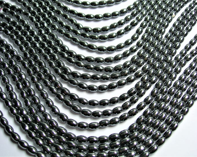 Hematite rice beads 4x6mm - full strand - 68 beads - AA quality - WHOLESALE DEAL - CHG26