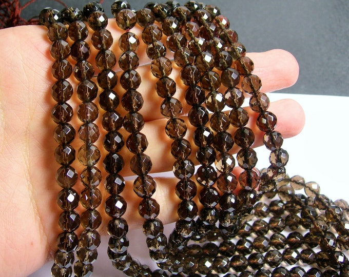 Smoky Quartz - 8 mm faceted round beads -1 full strand - 50 beads - A quality - RFG500